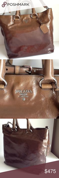 Prada Ombré Vernice Leather&Sfumata taupebrown bag Very good gently used condition,silvertone hardware,dual rolled handles,detachable flat shoulder strap,tonal woven logo interior lining w snap closure at top.Scuff marks at handle &front face below handle mounting rings.No scratches or visible signs of wear. Prada Bags Totes