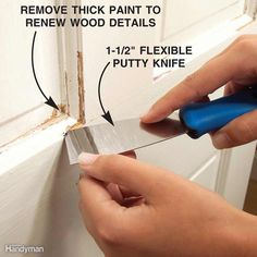 For small, tight areas, scrape with a 1-1/2-in. flexible putty knife. Use a pushing motion to go under the paint, working from an area of loose paint to an area where paint is firmly adhered. This bevels the remaining paint layers to make a smooth transition between damaged and undamaged areas, and it renews the details in the wood.