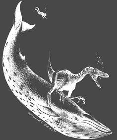 The Raptor Rides the Whale Men's T-shirt por wingedbeast en Etsy