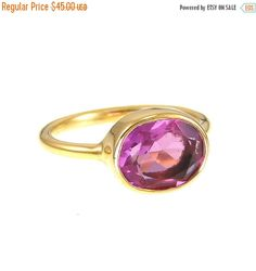 Holiday Sale - Pink Quartz Ring - Fuchsia color ring - lisa eldridge rings - Stackable Ring - Gemstone ring - Oval Stone Ring