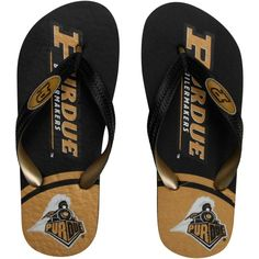 College Purdue Boilermakers Two-Toned Unisex Flip Flops - Black/Gold