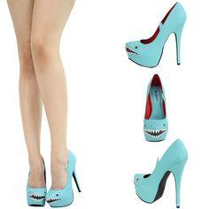 Mint Aqua Shark Face Almond Toe High Heel Platform Stiletto Women Pump Sandal US | eBay shark shoes shark heels cute