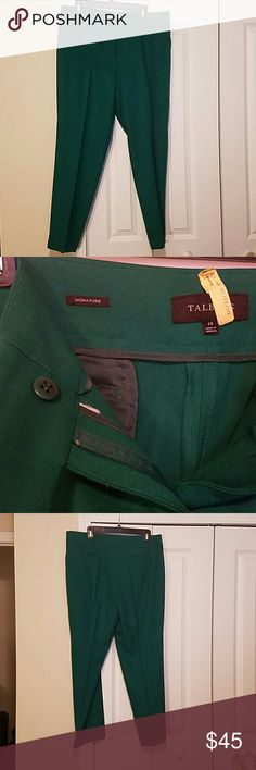 Beautiful green slacks Slacks are 68% Polyester, 30% Rayon and 2% Spandex. Small back pockets. Talbot's Signature line. Label says hand wash,  but I dry clean with great success. Talbots Pants