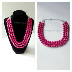 Hey, I found this really awesome Etsy listing at https://www.etsy.com/listing/265132523/hot-pink-layered-statement-necklace