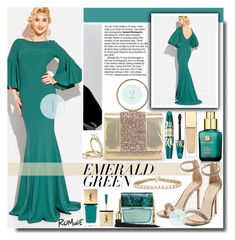 """""""Bell Sleeve Single Breasted Open Back Mermaid Dress"""" by fashiondiary5 ❤ liked on Polyvore featuring Estée Lauder, Marc Jacobs, Yves Saint Laurent, Max Factor, GREEN, dress, romwe and Elegant"""