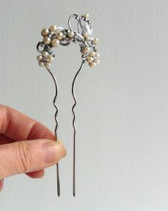 Vintage kanzashi - hair ornament - pearly plum blossoms and a butterfly - metal - hoax pearl - WhatsForPudding