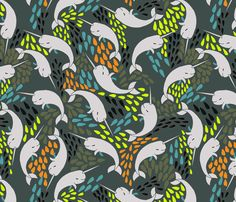 Narwhals  fabric by papersparrow on Spoonflower - custom fabric