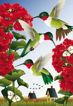 Jeremiah Junction Flag - Hummingbird Haven Decorative Flag at GardenHouseFlags
