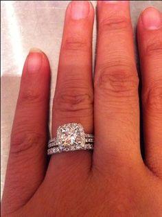 cushion cut split shank halo engagement ring  wedding band ❤❤❤ EXACTLY WAT I WANT