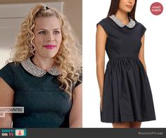 Laurie's beaded collar dress on Cougar Town.  Outfit Details: http://wornontv.net/45212/ #CougarTown