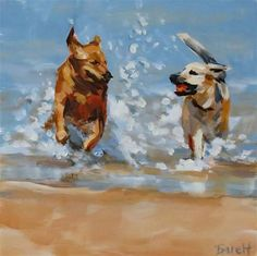 "Daily Paintworks - ""Beach Buddies"" - Original Fine Art for Sale - © Shari Buelt #DogDrawing"