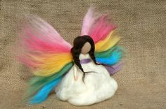 Rainbow Fairy, Ethereal Angel, Needle Felted via Etsy.