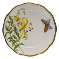 Herend American Wildflowers Meadow Lily Bread & Butter Plate