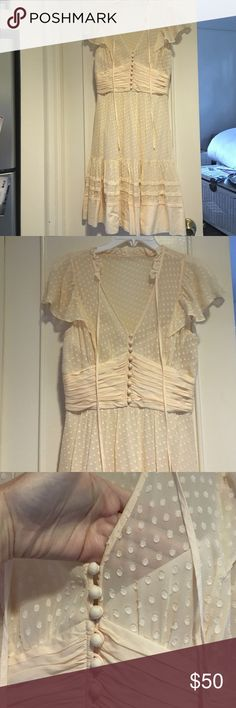 Bcbg MaxAzria sheer peach dress with slip size 2 So darling. Looks cute and sexy on with the sheer fabric and slip underneath. Size 2. Worn a couple times. Check out my other listings for more BCBG! BCBGMaxAzria Dresses Midi
