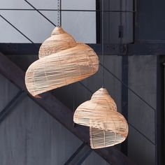 "Modern design rattan pendant light ""Shell"" - Store Without a Home Rattan Pendant Light, Copper Pendant Lights, Pendant Lamp, Nautilus, Feather Lamp, Bamboo Lamp, Cage Light, White Lamp Shade, Lamp Cord"