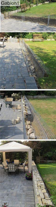 Gabion garden wall using 1800 x 675 x 375mm gabion baskets http://www.gabion1.co.uk