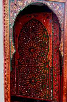 Africa | Hand-painted door in Marrakech, Morocco.  Belongs to a privately owned house.