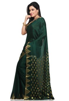 Dark Green Pure Mysore Silk Traditional South Indian Saree with Blouse Online Shopping: SKL2297