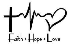 Faith Hope Love Cross Heartbeat Heart Vinyl Decal Sticker Car Wall ...