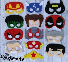 Superhero Inspired Felt Mask Party Favor, Dress Up, Imagination, Play, Costume by TheMaskerade on Etsy https://www.etsy.com/listing/291894377/superhero-inspired-felt-mask-party-favor