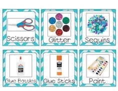 Labels for your classroom supplies, Classroom Supply Labels- Teal Chevron Classroom Organisation, Classroom Supplies, Teacher Organization, Kindergarten Classroom, Future Classroom, Classroom Themes, Preschool Classroom Labels, Classroom Management, Art Supplies