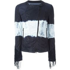 Drome Tie Dye Print Fringed Jacket ($1,401) ❤ liked on Polyvore featuring outerwear, jackets, blue, drome, fringe jacket, blue jackets, tie dye jacket and lambskin leather jacket