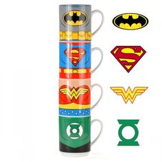 Tasses Empilables Justice League. Kas design, Distributeurs de produits originaux