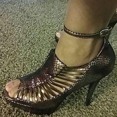 Multi-Colored Platform Heels Snake skin multicolored heels Shoes Heels