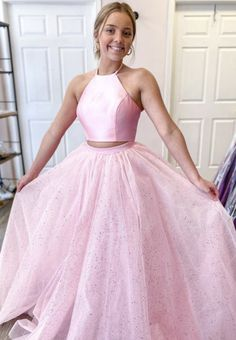 Pink Tulle Long Ball Gown Dress Sweet 16 Dress