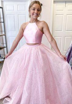 Pink Tulle Long Ball Gown Dress Sweet 16 Dress Pink Formal Dresses, Sweet 16 Dresses, A Line Prom Dresses, Sweet Dress, Sweet 16 Outfits, Dress Formal, Two Piece Evening Dresses, Pink Evening Dress, Pink Dress