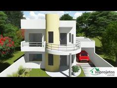 Esta nova versão do Projeto Cód. 93 possui linhas contemporâneas, com poucas paredes internas, facilitando a ... Modern Villa Design, Unique House Design, Dream Home Design, Balcony Grill Design, Architectural House Plans, Kerala House Design, Kerala Houses, Bungalow House Design, H Design