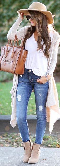 fall outfit ideas   cream cardigan + booties Autumn Winter Fashion bc0f62f8811ba