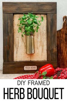 I love this fresh twist on the traditional herb garden. The framed bouquet of fresh herbs can be propped on the counter or hang it up if you prefer to keep your counters clutter free. #IndoorHerbs #IndoorGarden #FramedGarden #ACraftyMix #DistressedWall #DistressedFrame #GardenInspiration#FreshHerbs Craft Projects For Adults, Diy Craft Projects, Decor Crafts, Home Crafts, Fun Crafts, Diy Kitchen Decor, Diy Home Decor, Herb Bouquet, Herbs Indoors