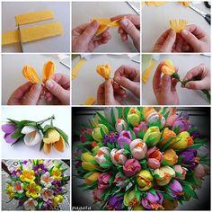 DIY Beautiful Bouquet of Crepe Paper Crocuses 3