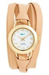 La Mer Collections 'Saturn' Leather Wrap Watch, 32mm