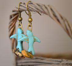 Boucles d'oreilles oiseaux qui volent en pierres naturelles - Bijoux TessNess : Boucles d'oreille par tessness