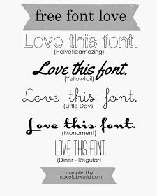 It's a case of Free Font Love on Moxie Fab World. You'll find 5 free fonts to check out. Click on the picture to go to the post that has links to them.