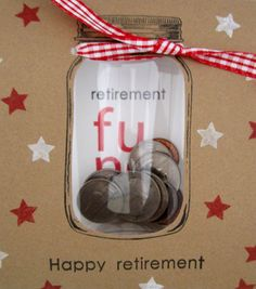 "What a FUN retirement card!  A clear pillow box is used to create a change jar on this great DIY farewell card.  You can get them started off right with some actual money in the ""jar""!"