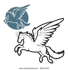 Outlined pegasus illustration - vector - stock vector