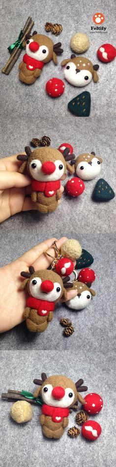 Handmade needle felted felting cute animal project reindeer doll Christmas toy Needle Felted Animals, Felt Animals, Felt Crafts, Christmas Crafts, Diy Laine, Wool Dolls, Needle Felting Tutorials, Animal Projects, Reno
