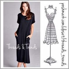 Comfy Slouchy Tee Dress Oh so comfy black Tee Dress made of cotton, rayon and spandex featuring pockets. Mid calf length. Throw this on for comfortable casual everyday wear. Pair with sneakers or sandals. Size S, M, L Threads & Trends Dresses