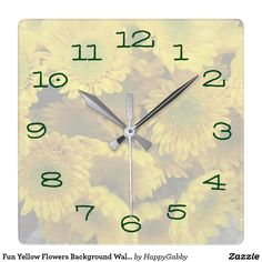 Fun Yellow Flowers Background Wall Clock