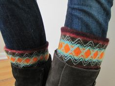 Boot Socks-Full Boot Sock Included- Boot Cuff-Leg Warmer-Multicolor-Nordic Style on Etsy, $24.00