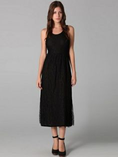 Sheath / Column Scoop Sleeveless Tea-length Lace Black Little Black Dresses