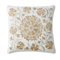 Gold Embroidered Pillow Cover-Embroidered Suzani