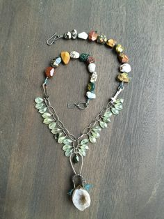 Image of Superfluous Necklace- Prehnite, Jaspers and Druzy