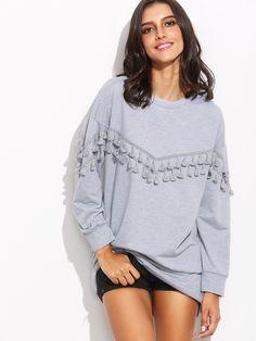 Sweat-shirt manche longue avec franges - gris -French SheIn(Sheinside)
