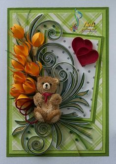 Neli is a talented quilling artist from Bulgaria. Her unique quilling cards bring joy to people around the world. Neli Quilling, Paper Quilling Flowers, Paper Quilling Cards, Quilling Work, Quilled Paper Art, Quilling Craft, Quilling Patterns, Quilling Designs, Diy Arts And Crafts