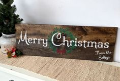 Board & Brush personalized wooden Merry Christmas sign!