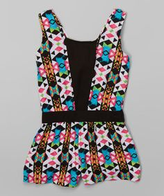 Another great find on #zulily! Pink & Black Geometric Romper - Toddler & Girls by Pink House #zulilyfinds